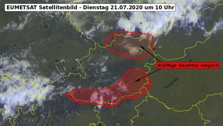 Satellitenbild um 10 Uhr und Unwettergefahr am heutigen Dienstag - EUMETSAT, UBIMET