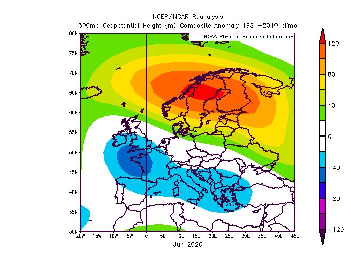 Anomalie der Wetterlage in etwa 5000 m Höhe in Juni 2020 - NOAA/PSL https://psl.noaa.gov/