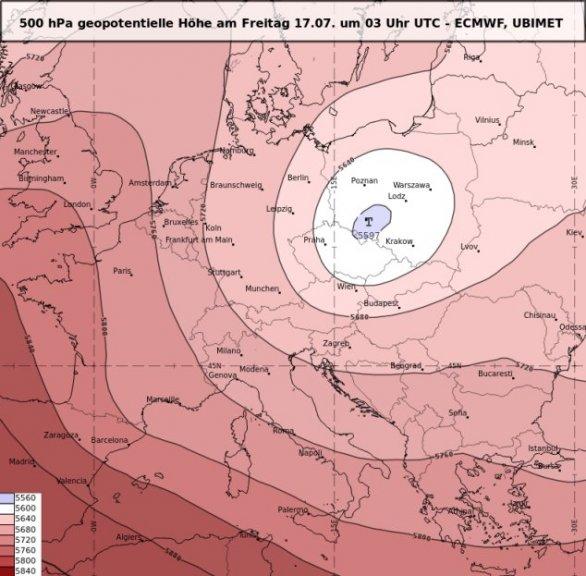 Höhentief über Polen am Freitag 17.07. um 03 UTC - ECMWF, UBIMET