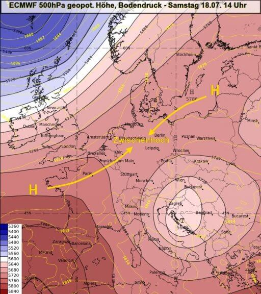 Wetterlage am heutigen Samstag - ECMWF, UBIMET