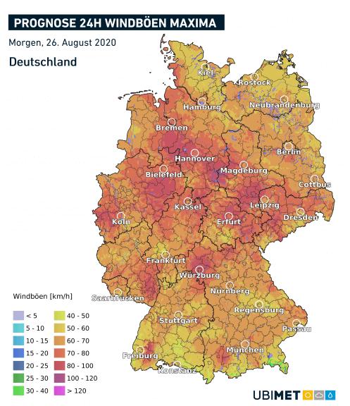 Prognose der maximalen Windböen am Mittwoch - UBIMET