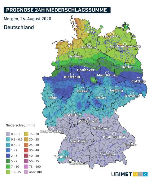 Vorhergesagte Niederschlagssumme am Mittwoch - UBIMET