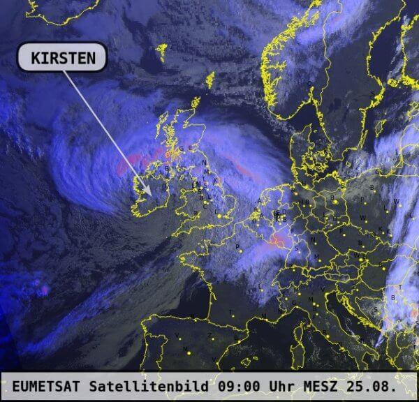 Sturmtief KIRSTEN über Irland um 9 Uhr MESZ am Dienstag - EUMETSAT, UBIMET