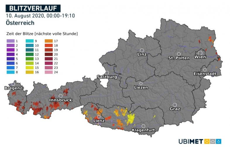 Blitzverlauf am Montag bis 19:10 Uhr MESZ - nowcast, UBIMET
