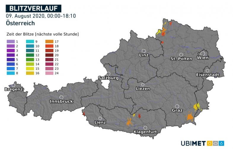 Blitzverlauf am Sonntag - UBIMET, nowcast