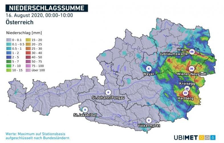 Niederschlagssumme am Sonntag bis 10 Uhr MESZ - UBIMET