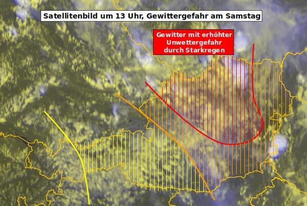 Satellitenbild um 13 Uhr MESZ und Unwettergefahr am Samstag - EUMETSAT, UBIMET