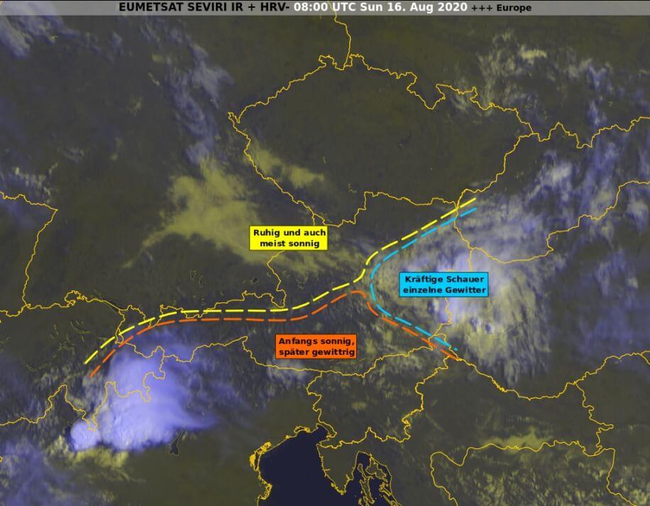 Satellitenbild um 10 Uhr MESZ und Wetter für heute - EUMETSAT, UBIMET