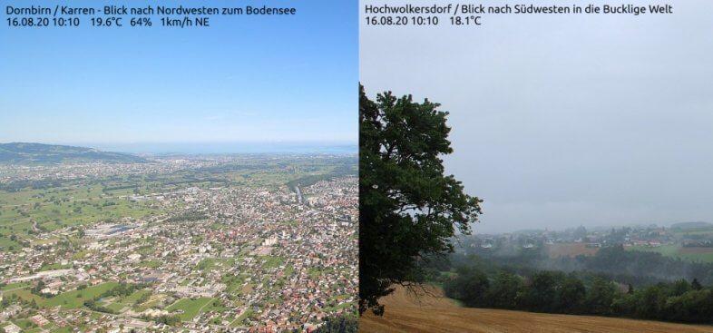 Wetter-Vergleich zwischen dem Rheintal und der Buckligen Welt am Sonntag um 10:10 Uhr MESZ - foto-webcam.eu