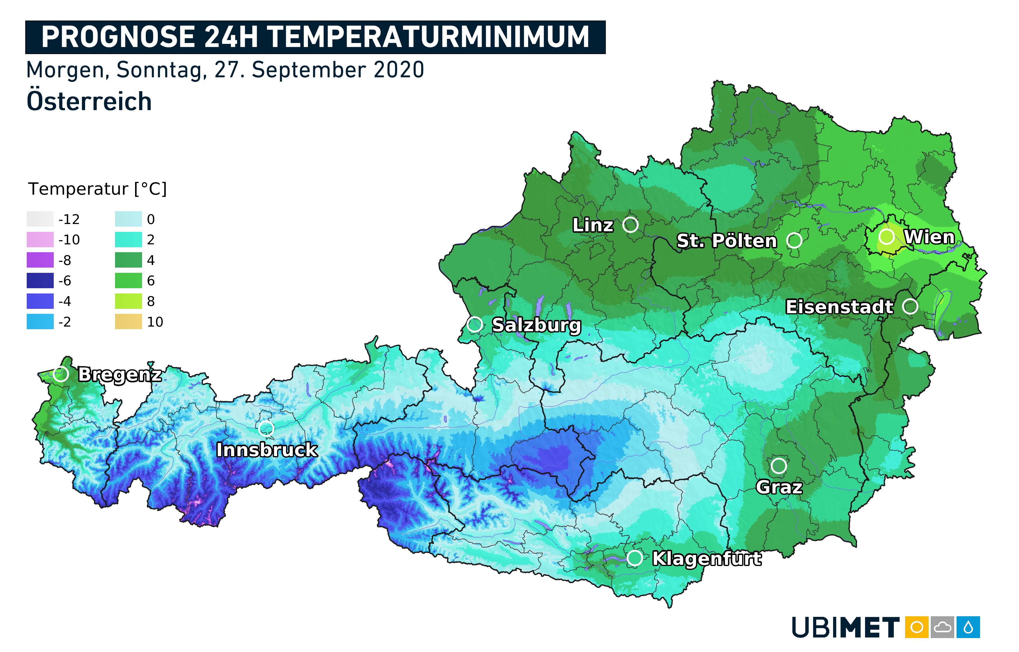 Leichter Frost in vielen Hochtälern der Alpen. (Karte: Tiefstwerte bis Sonntag 27, 8 Uhr MESZ. September 2020; Quelle: UBIMET)