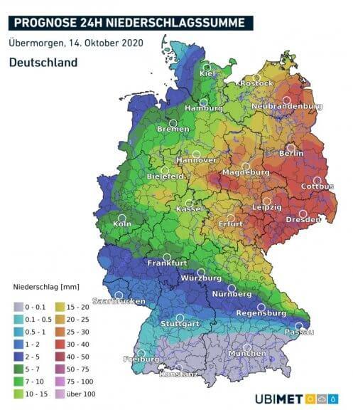 Prognose der akkumulierten Niederschlagsmengen für den Mittwoch - UBIMET