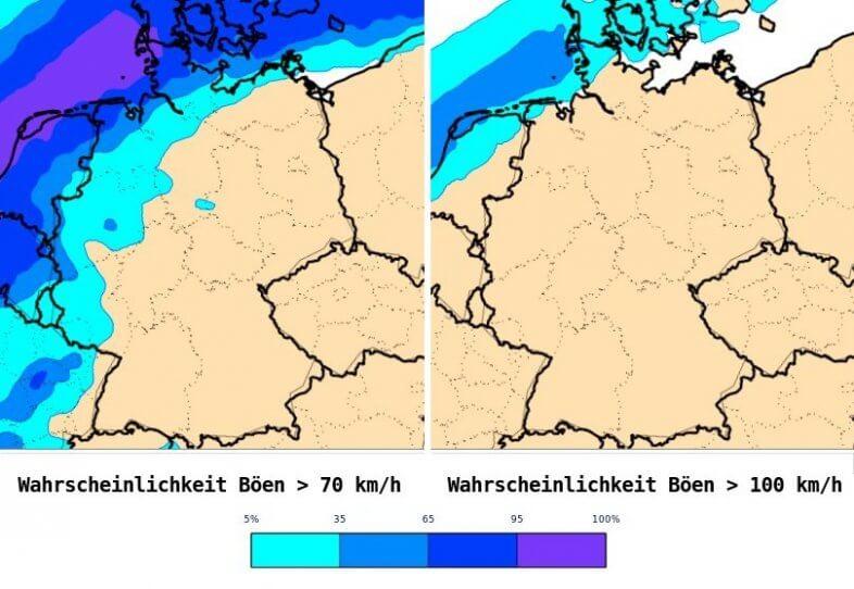 Wahrscheinlichkeit für mehr als 70 ( links) und 100 (rechts) km/h Böen am Mittwochabend und in der Nacht auf Donnerstag - ECWMF, UBIMET
