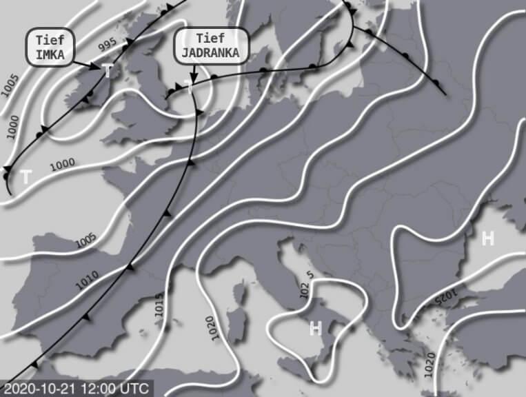 Die Wetterlage am Mittwoch - UWR, UBIMET