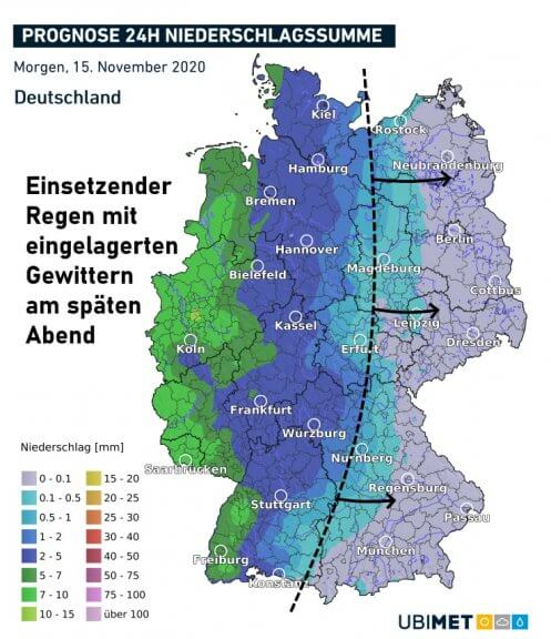 Akkumulierte Niederschlagsmengen am Sonntag 15.11. - UBIMET