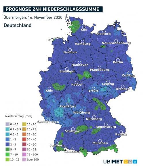 Akkumulierte Niederschlagsmengen am Montag 16.11. - UBIMET