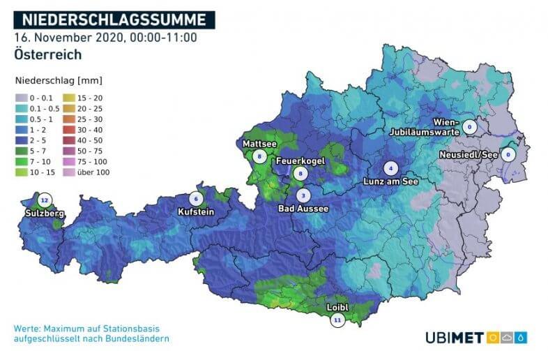 Akkumulierte Niederschlagsmengen am Montag bis 11 Uhr MEZ - UBIMET