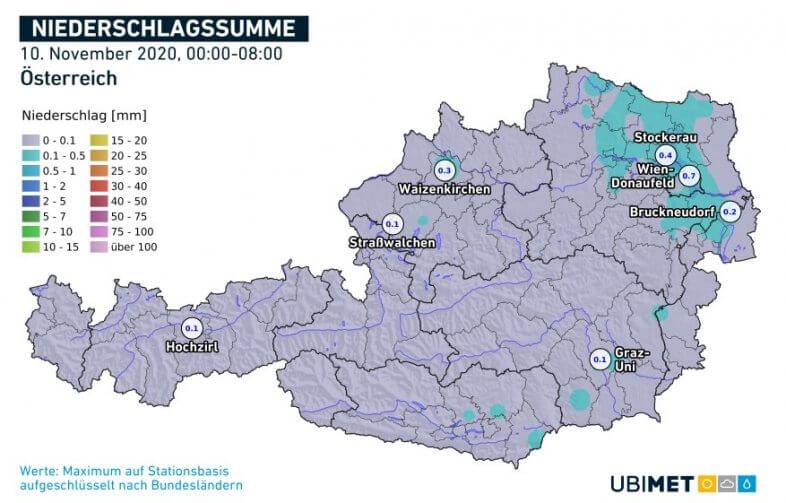 Akkumulierte Niederschlagsmengen bis 8 Uhr MEZ am 10.11.2020 - UBIMET, ZAMG