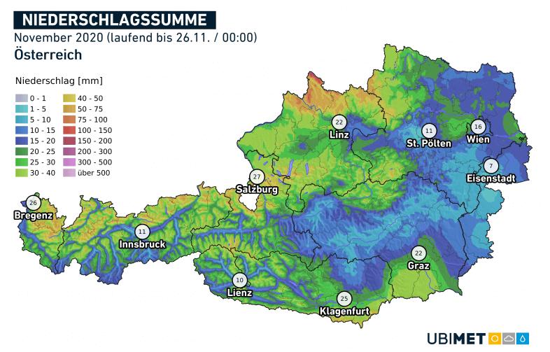 Aktuelle Niederschlagssumme im November 2020. Quelle: UBIMET.