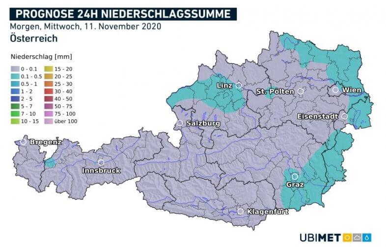 Vorhergesagte Niederschlagsmengen für morgen 11.11.2020 - UBIMET