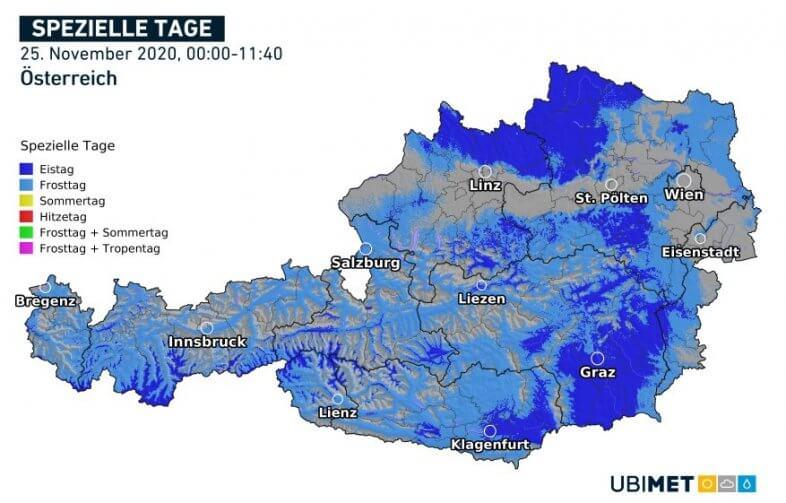 Frosttag (Tiefstwert unter Null Grad) oder Eistag (Höchstwert unter Null Grad) am 25.11. bis 11:40 Uhr - UBIMET