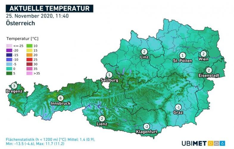 Temperaturen um 11:40 Uhr am 25.11. - UBIMET