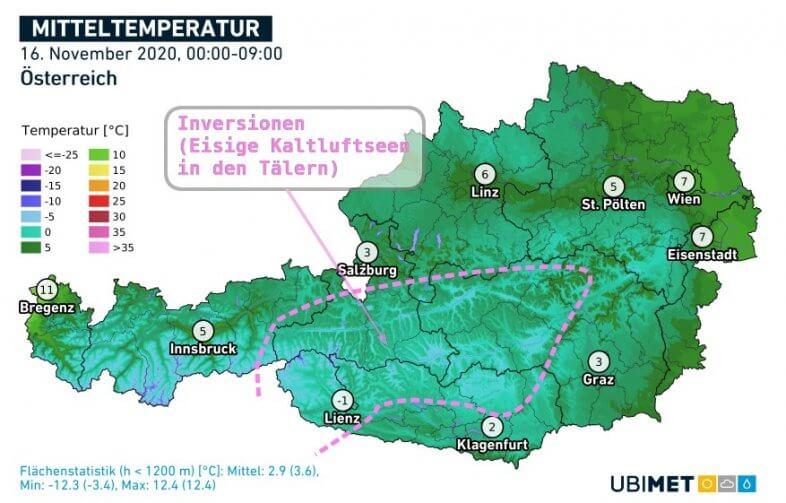 Mitteltemperatur am Montag bis 9 Uhr MEZ - UBIMET
