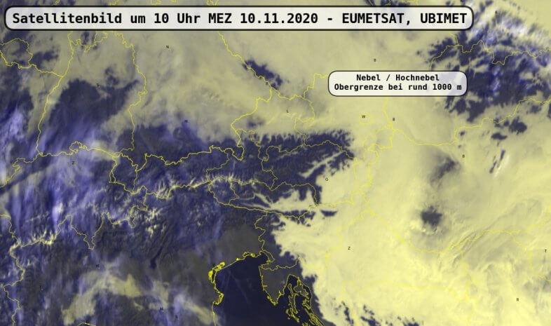 Satellitenbild um 10 Uhr MEZ am 10.11.2020 - EUMETSAT, UBIMET