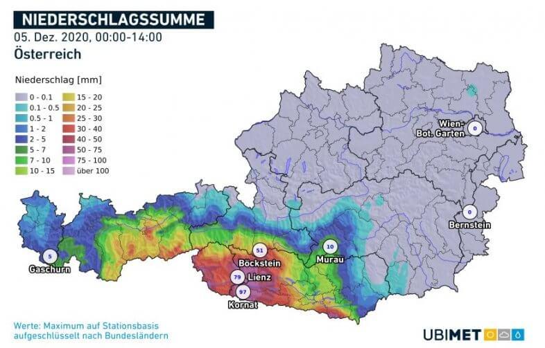 Aufsummierte Niederschlagsmengen am 05.12. bis 14 Uhr MEZ - UBIMET, ZAMG