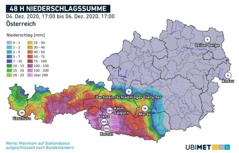 Niederschlagssumme der letzten 48 Stunden bis 17 Uhr - UBIMET, ZAMG