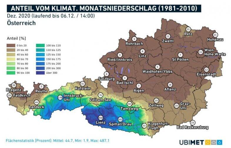 Anteil der klimatologischen Niederschläge, die bis zum 06.12. um 14 Uhr bereits zusammengekommen sind - UBIMET, ZAMG