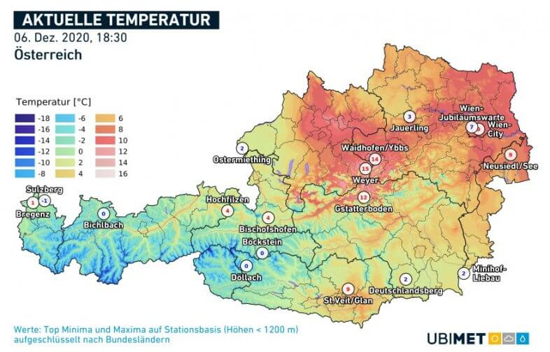 Gemessene Temperaturen um 18:30 Uhr - UBIMET, ZAMG