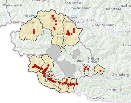 Hoch- und Mittelspannungsstörungen (Stromausfälle) in Osttirol um 18:45 Uhr - https://tirol.leitungsauskunft.at/ol3/netzInfo/