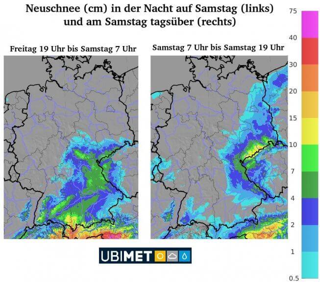 Neuschneeprognose für die Nacht zum Samstag (links) und für den Samstag (rechts) - UBIMET