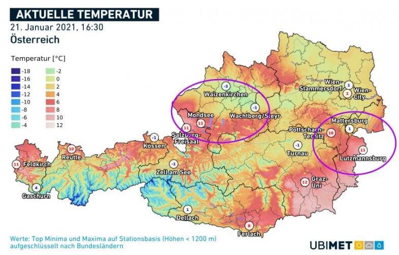 Temperaturen um 16:30 Uhr am Donnerstag. Vor allem im Norden und Osten oft mehr als 10 Grad Differenz auf engstem Raum - UBIMET, ZAMG