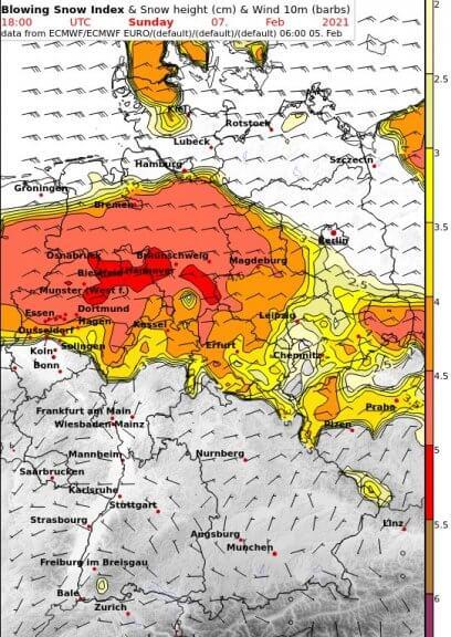 Gefahr von Schneeverwehungen am Sonntag um 19 Uhr (gelb=gering, orange=mäßig, rot=hoch) - UBIMET, ECMWF