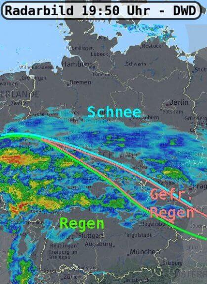 Radarbild um 19:50 Uhr - DWD, UBIMET