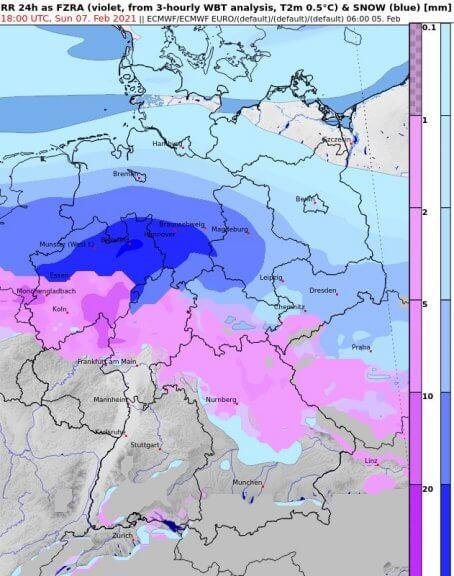 24-stündige akkumulierte Neuschneemenge (blau) und gefrierender Regen (rosa) bis Sonntag 19 Uhr - ECMWF, UBIMET