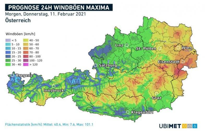 Vorhergesagte maximale Windböen für den Donnerstag - UBIMET