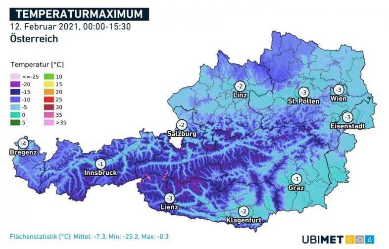 Temperaturhöchstwerte am heutigen Freitag - UBIMET, ZAMG