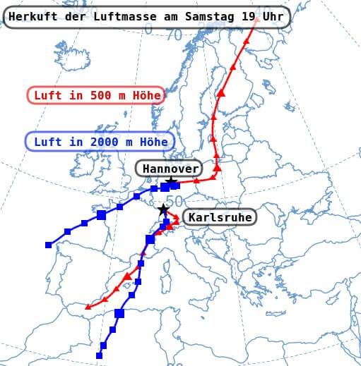 Herkunft der Luftmassen in Hannover und in Karlsruhe am Samstag um 19 Uhr - NOAA Air Resources Laboratory Hysplit Modell