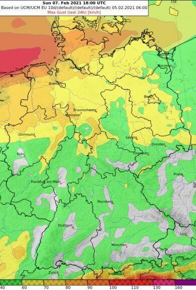 24-stündige maximale Windböen in km/h bis Sonntag 19 Uhr - UBIMET, ECMWF