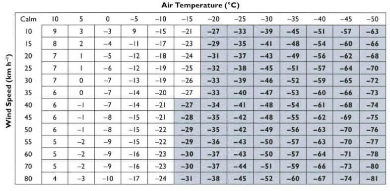 Windchill, die gefühlte Temperatur bei Wind - R.Osczevski, M.Bluestein 2005, Bulletin of the American Meteorological Society