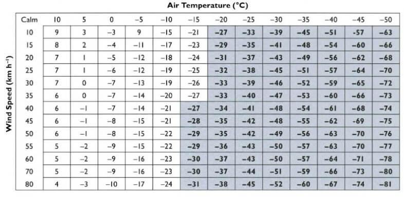 Windchill, die gefühlte Temperatur bei Wind - R.Osczevski, M.Bluestein 2005, Bulletin of the American Meteorological Society