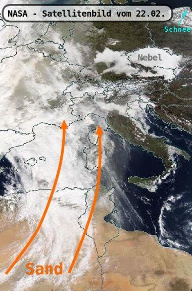 Satellitenbild vom 22.02. mit dem Nordafrika-Tief und die abtransportierten Sandpartikeln - https://worldview.earthdata.nasa.gov/