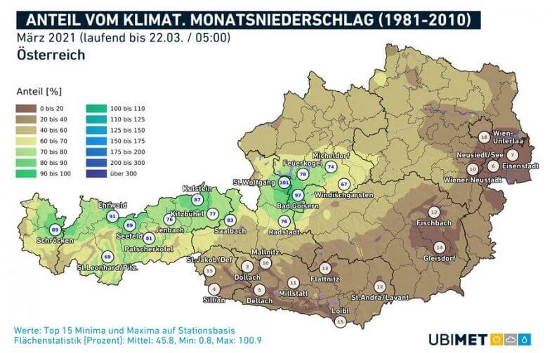 Anteil des klimatologischen Niederschlags, der bislang zusammengekommen ist (100 = Der klimatologische Monatsniederschlag wurde schon erreicht) - UBIMET, ZAMG
