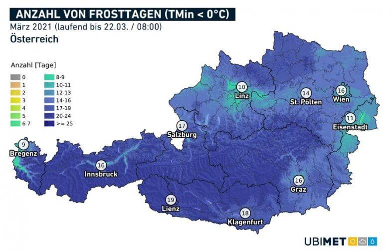 Anzahl der Tage mit Tiefstwert unter dem Gefrierpunkt (Frosttage) im März 2021 bis zum 22.03. um 8 Uhr - UBIMET, ZAMG