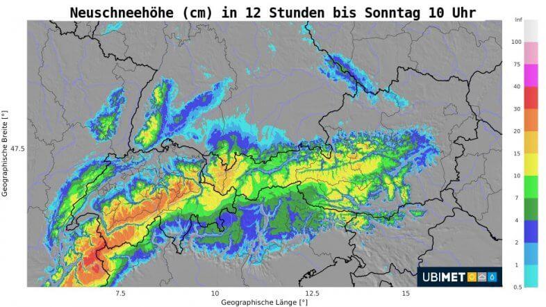 12-stündige Neuschneeakkumulation (cm) bis Sonntag um 10 Uhr - UBIMET UCM Modell