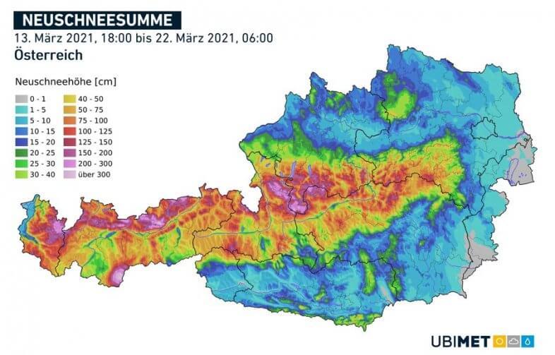 Neuschnee vom 13.03. 18 Uhr bis zum 22.03. 06 Uhr - UBIMET
