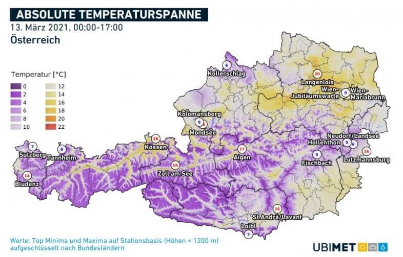Temperaturspanne am Samstag - ZAMG, UBIMET