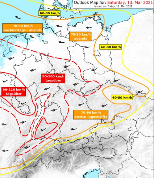 Vom Sturm betroffene Regionen am Samstag - UWR, UBIMET